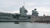 HMS Prince of Wales first entry into Portsmotuh rushes